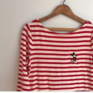 GAP Disney Red Stripe Mickey Mouse Ballet Neck Tee